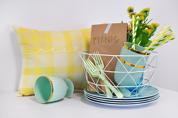 Yellow Plaid Pillow Picnic