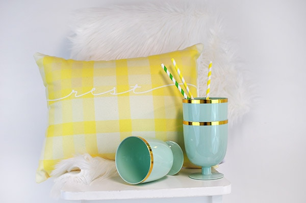 Yellow Plaid Spring Pillow