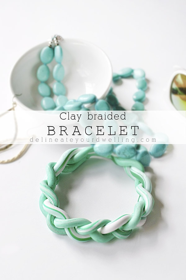 marbled DIY Clay Braided Bracelet