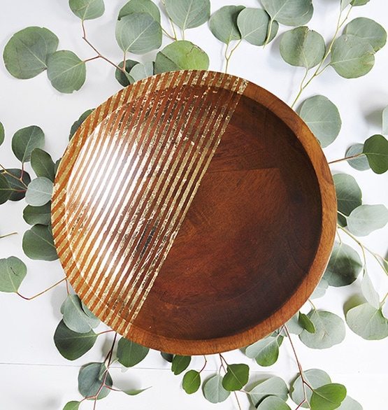 Striped Gold Foil Wooden Bowl