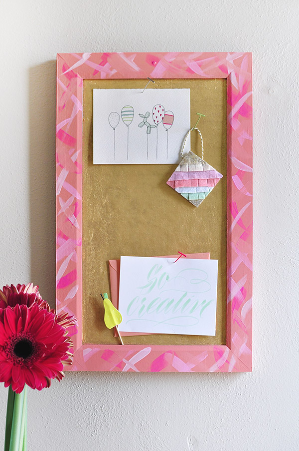 DIY Gold Brushstroke Cork Board, Delineate Your Dwelling
