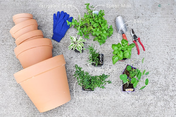 DIY Stacked Herb Garden supplies
