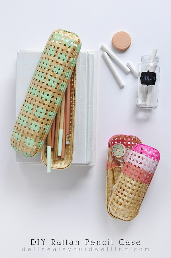 Green and Pink Rattan Pencil Case