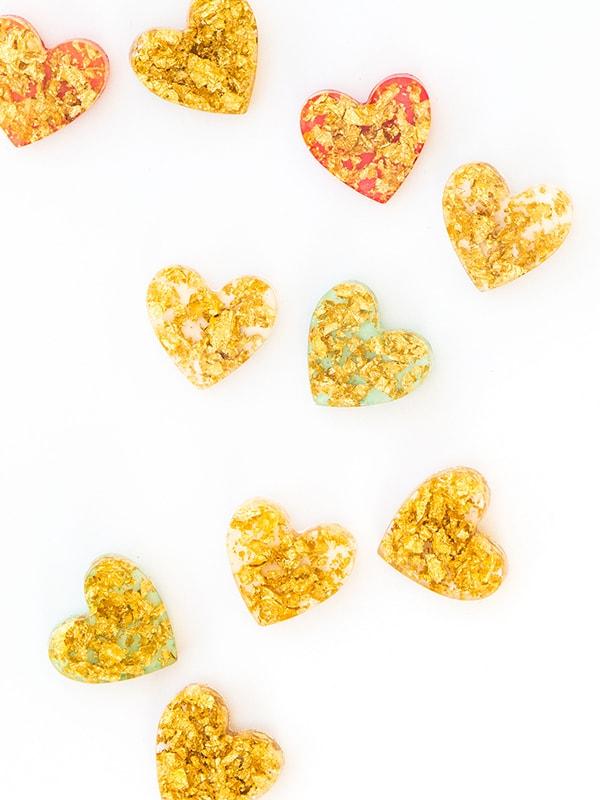 Gold Leaf heart brooch