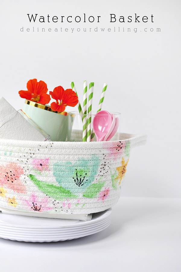 DIY Watercolor Basket