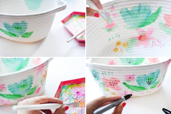 Watercolor Basket steps
