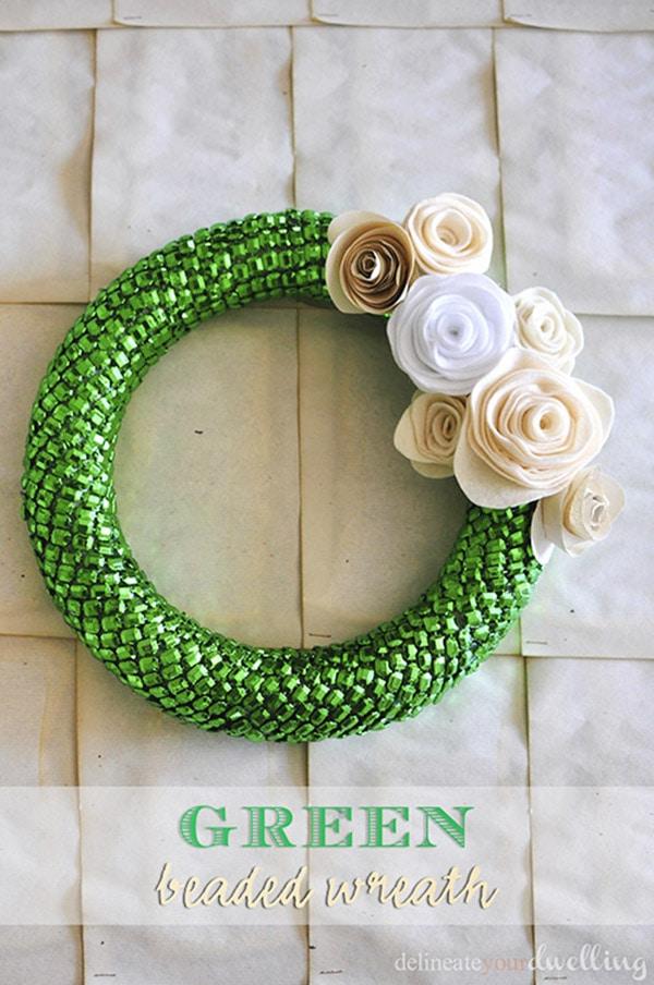 green-beaded-felt wreath
