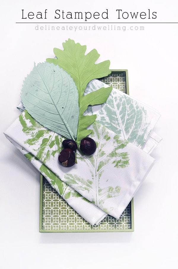 leaf-stamped-diy-towels