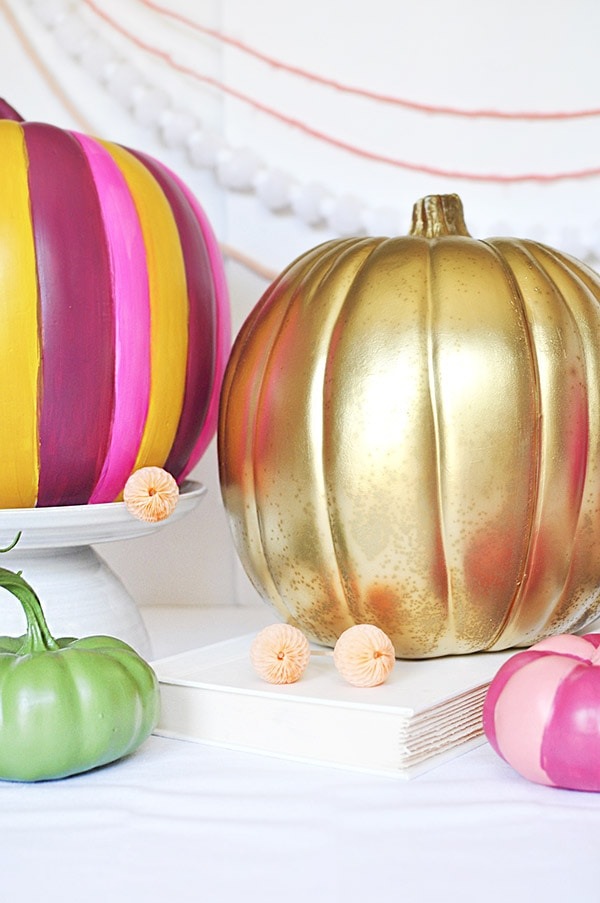 Gold, green and rainbow pumpkins