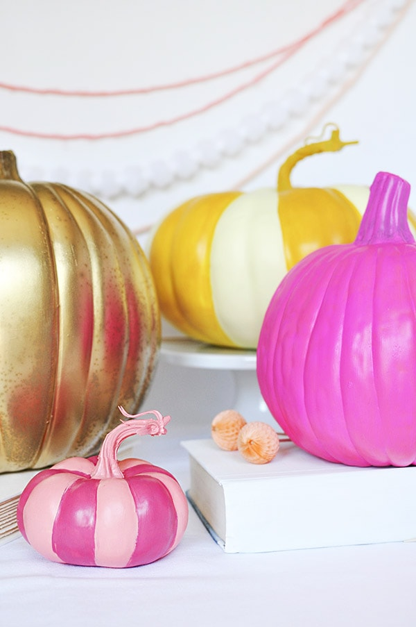 Gold, Yellow and pink pumpkins