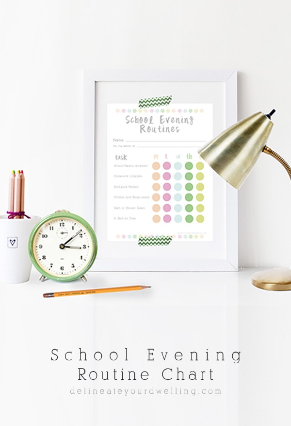 Help to streamline your days with this easy to use School Evening Routine Chart, Delineate Your Dwelling