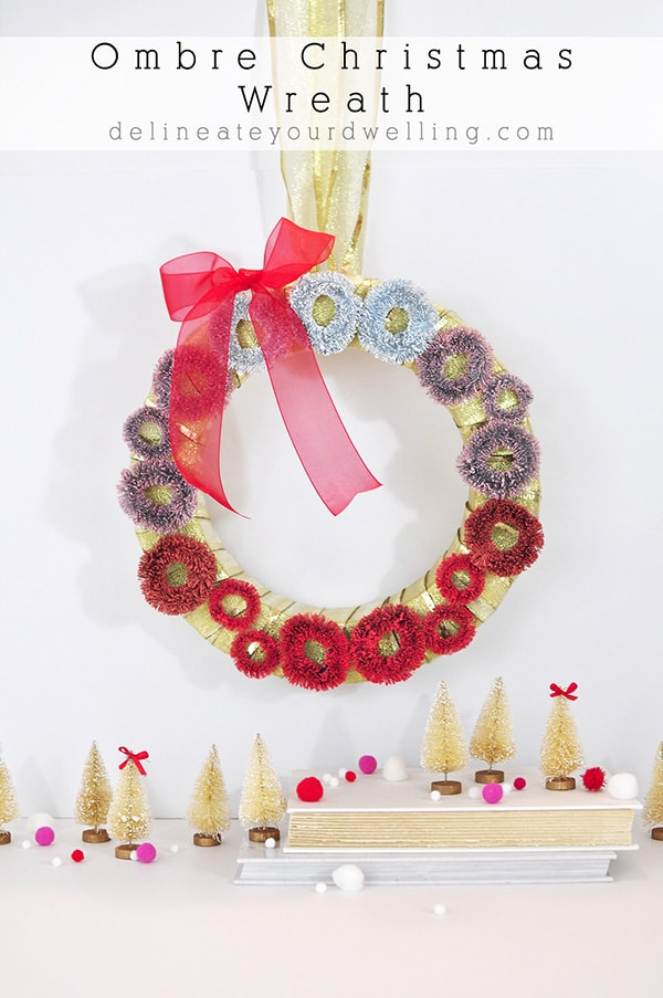 White, Pink and Red Festive Ombre Christmas Wreath