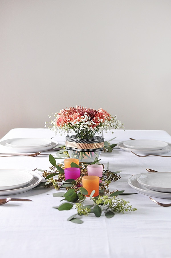 Thanksgiving Table Decoration, coral, orange and pink