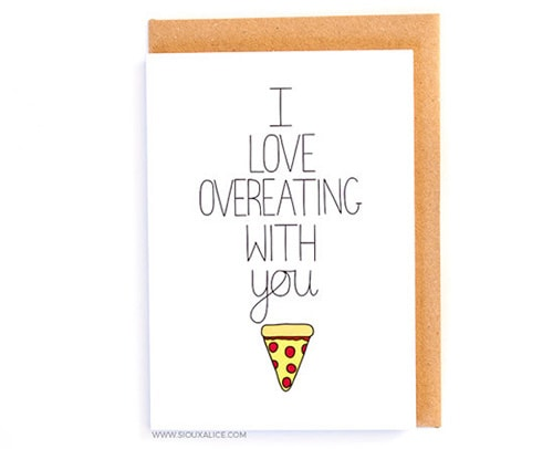 Overeating with you, Valentine's Day card