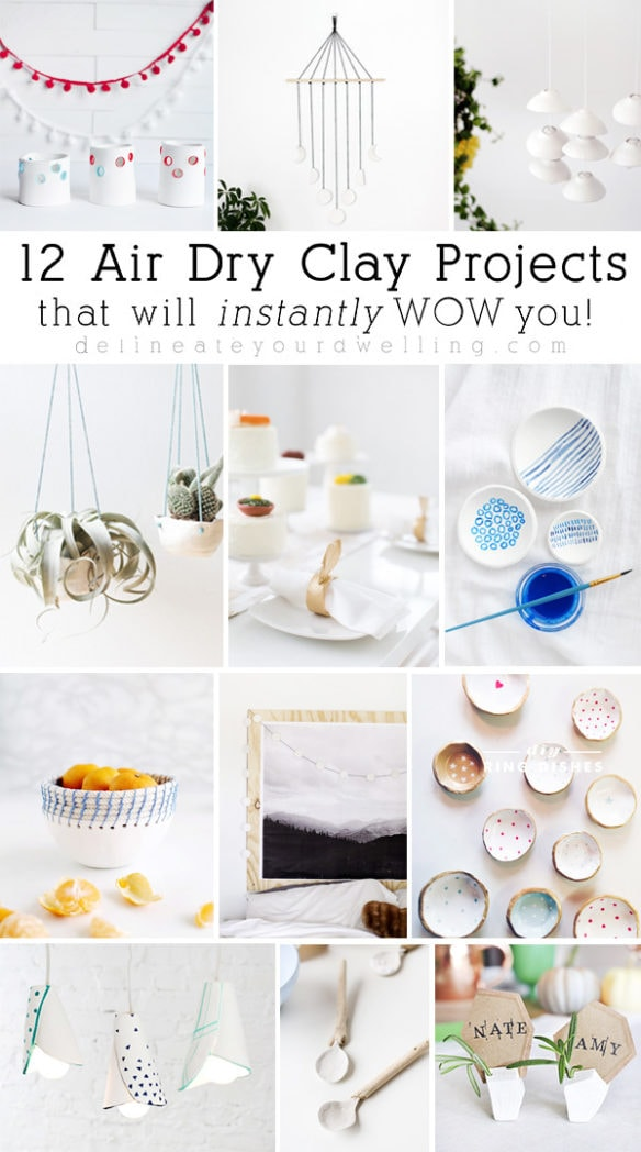 12 unique and easy to make Air Dry Clay projects that will instantly wow you! From supply lists to the full tutorials, these projects are incredible and inspiring. Delineate Your Dwelling #airdryclay #clayideas