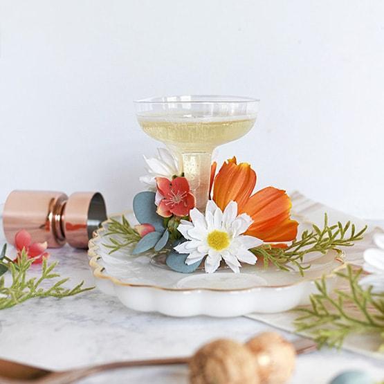 1 Floral Champagne Saucer Glasses