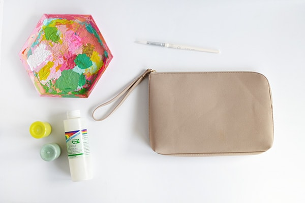 DIY Paint Splattered Clutch supplies