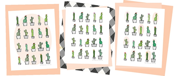 Download this simple modern Cactus Print wall art to hang in any room of your home. It is a hand-drawn graphic in black and white with pops of color. Delineate Your Dwelling #cactuswallart #cactusprint