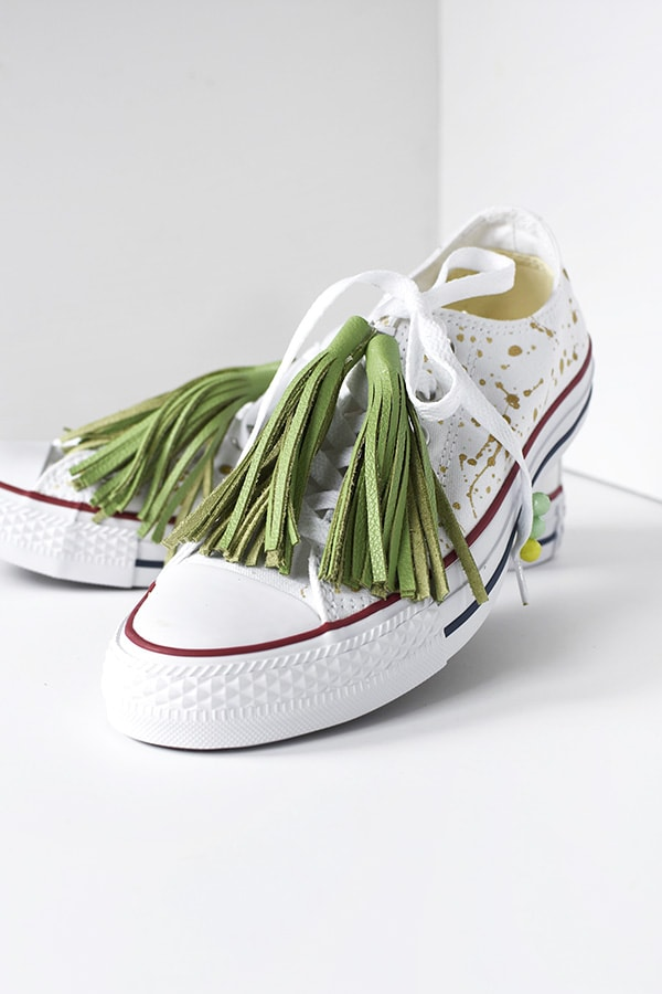 DIY Green Tassel Chuck Taylor Tennis Shoes