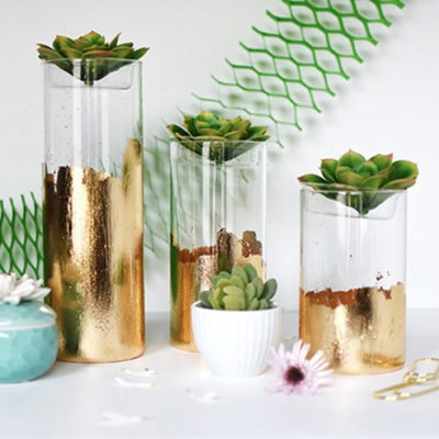 1 Gold Foil Glass DIY Planter Vase