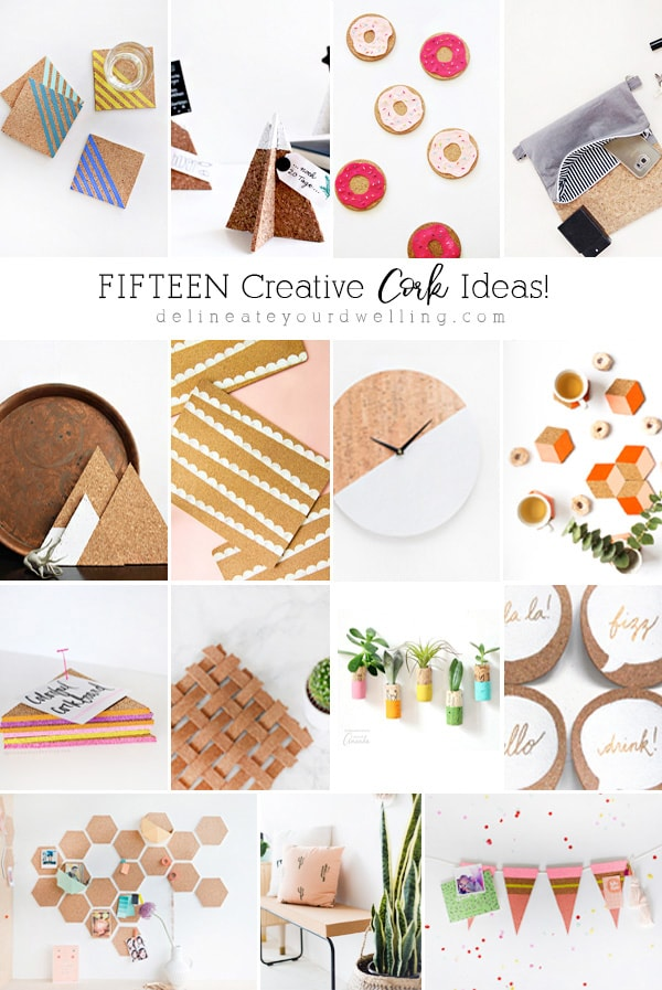 Wine Cork Crafts might be one of the easiest craft supplies to use but check out the other creative Cork Craft Ideas that you could also make!Bulletin Board, Placemats and more from @DelineateYourDwelling #corkcraftideas #corkcraft