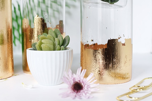 DIY Gold Foil Vase, perfect for holding flowers, succulents and many other small decor items! | Delineate Your Dwelling