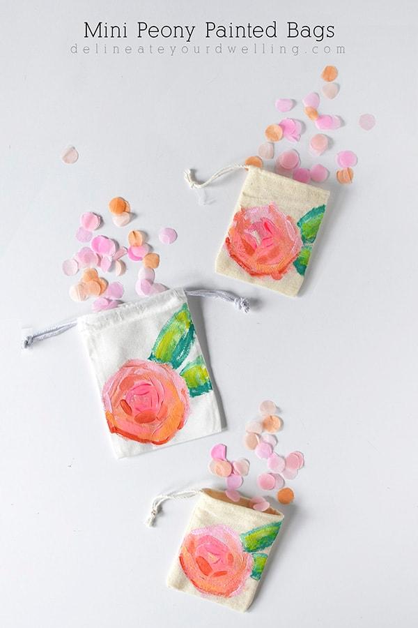 Mini Peony Painted Bags