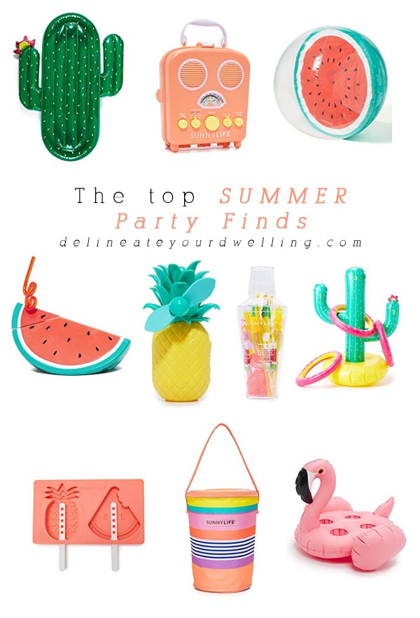 Top Summer Party Finds | Cactus Rafts, Radios, Beach Balls, Fruit Cups and Flamingos @Delineateyourdwelling