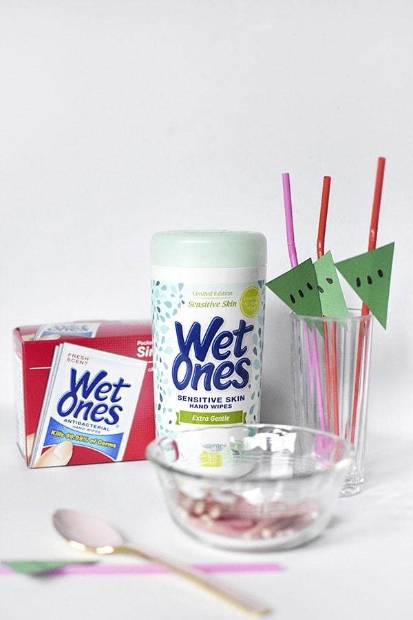 Watermelon Popsicle Bar Easy Cleanup with WetOnes