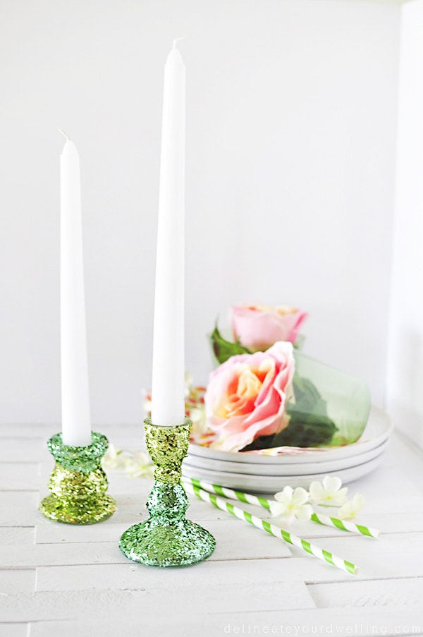green Glitter-Candle-Holder