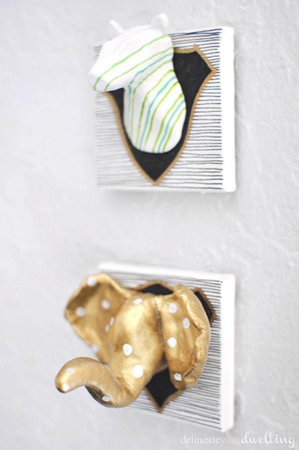 DIY Air Dry Clay Zebra + Elephant Heads