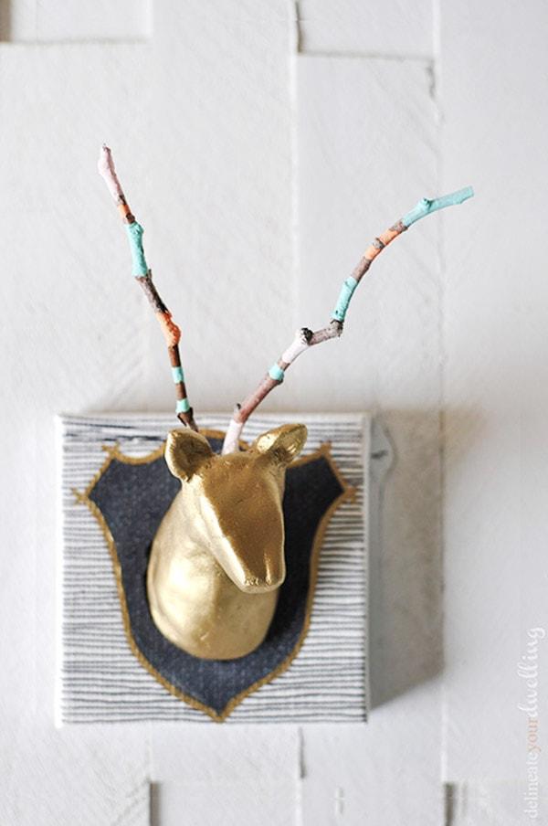 DIY Air Dry Clay Zebra Head with painted stripe antlers