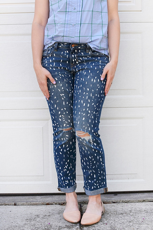 DIY-Painted-Patterned-Blue Jeans