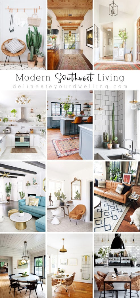 There is nothing like clean, simple and Modern Southwest design.  From the use of natural materials and plants to cheerful but muted colors - there are tons of Modern Southwest Ideas and Inspiration for all. Delineate Your Dwelling #modernsouthwest #modernsouthwestliving