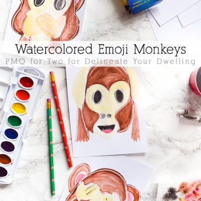 Fun and Playful Watercolor Emoji Monkey Art work! PMQ for Two for Delineate Your Dwelling