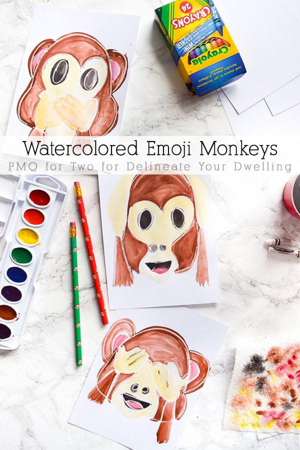 Watercolor Emoji Monkey Art work!