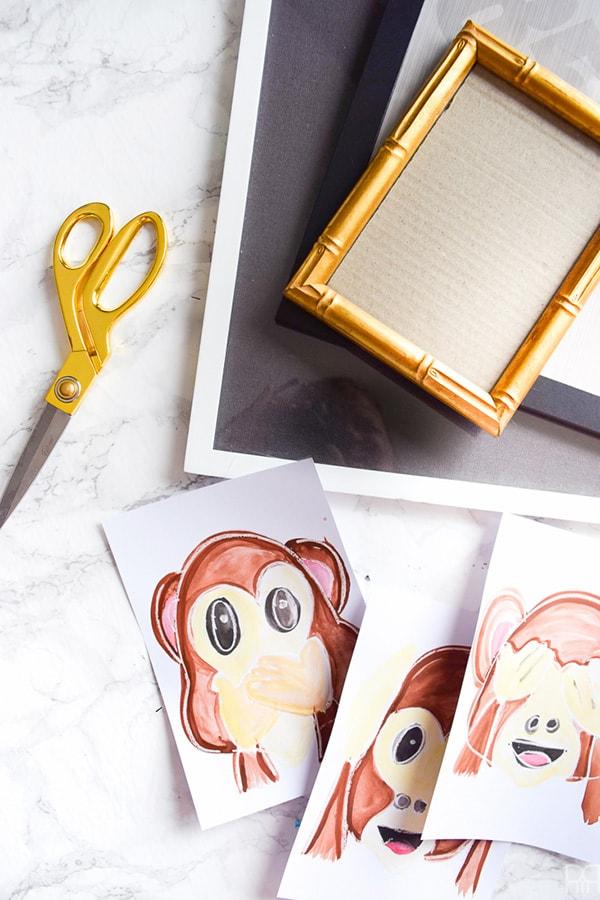 Monkey emoji art steps
