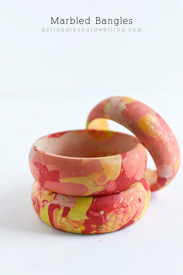 Colorful Marbled Bangle Bracelets