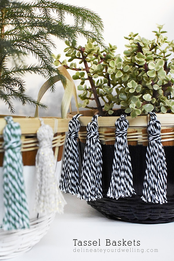 How to create easy DIY Baker's Twine Tassel Baskets! Delineate Your Dwelling