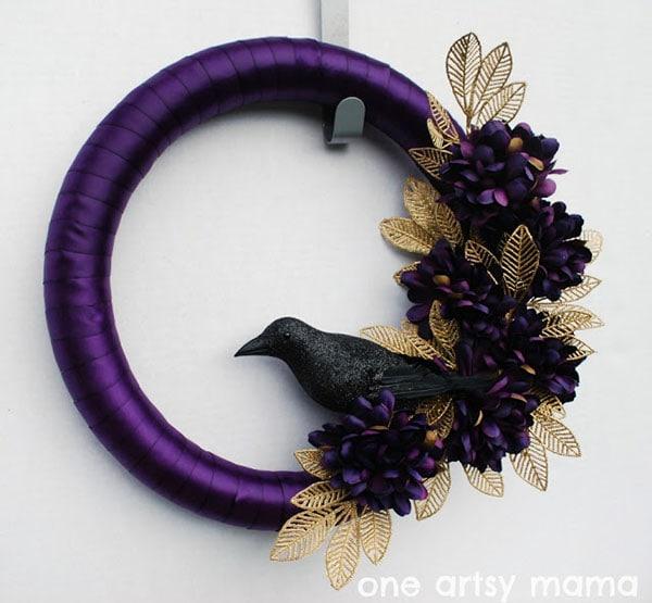 purple ravens wreath