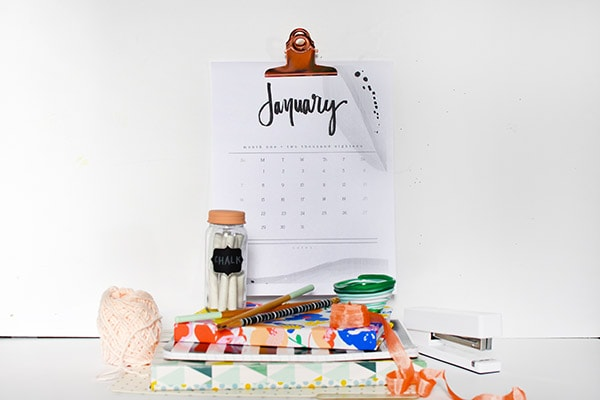 2018 FREE Black and White Watercolor Hand Lettered Calendar, Delineate Your Dwelling 2018 Hand Lettered Calendar