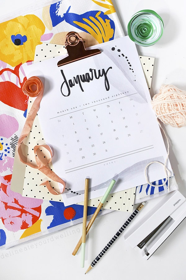 2018 Hand Lettered Calendar, Delineate Your Dwelling #calendar #handletteredcalendar