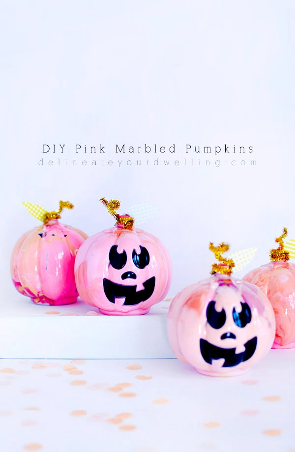 DIY Pink Marbled Pumpkins with Paint