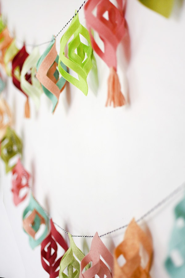 Pink and Green Felt Garland