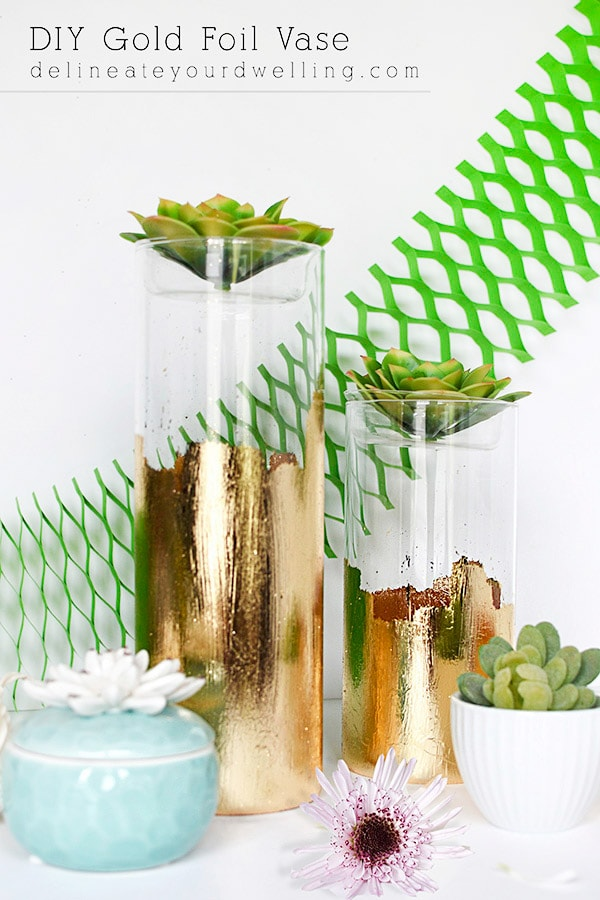 DIY-Gold-Foil-Vase, Top Reader Creative, Craft, Home Decor 2017 Posts, Delineate Your Dwelling