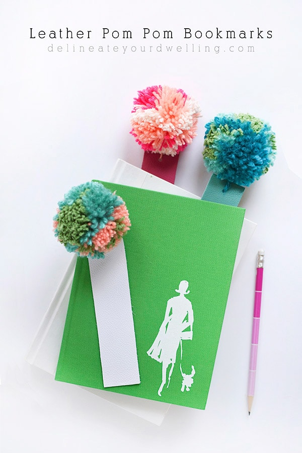 Learn how to make a Pom Pom bookmark using colorful soft leather! A fun gift idea for your favorite book reader or even as a teacher gift.
