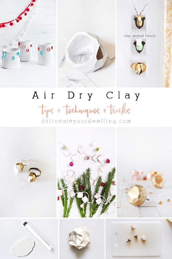 So many helpful Tips, Techniques and Tricks for How to use Air Dry Clay.  I have learned so much information after using Air Dry Clay over the years! Plus there are tons of great kid and adult craft clay ideas, too. Delineate Your Dwelling #airdryclay #airdrymodelingclaytips