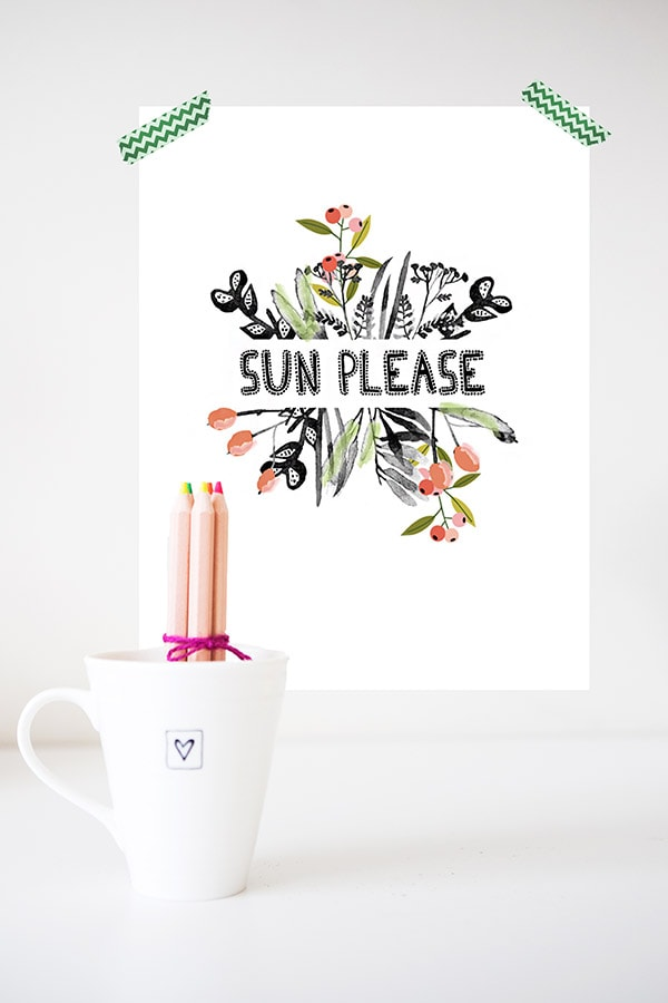 Download your gorgeous black and white watercolor Sun Please print. Hang in your home to remember that sunshine is going to come back at some point! Delineate Your Dwelling #graphicprint