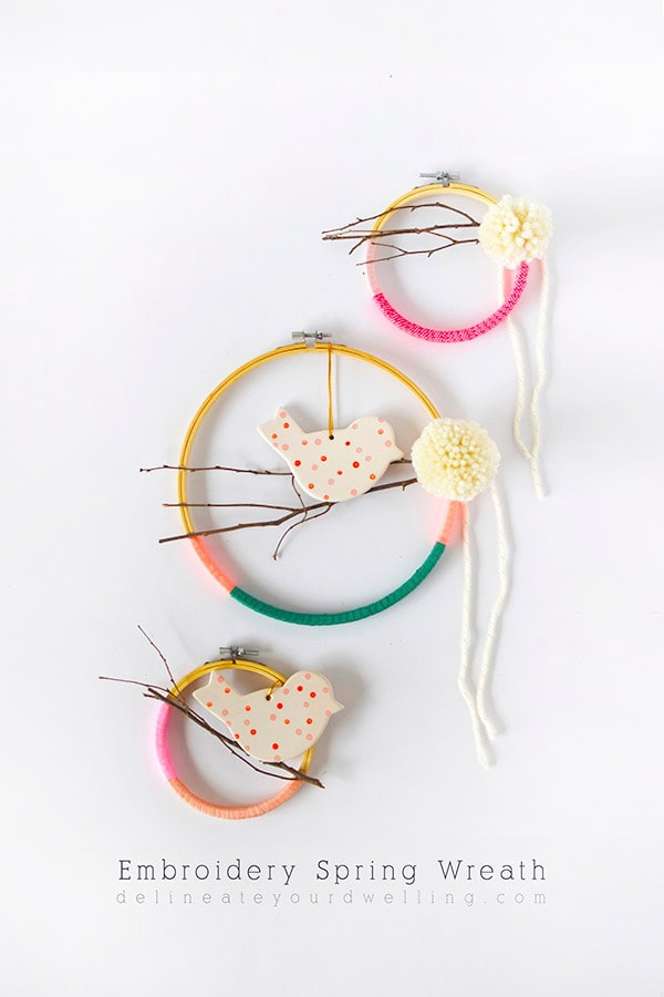 Learn how to create your very own DIY Embroidery Hoop Wreaths with ribbon for Spring time. Use these few fun and simple supplies. They are easy to make and so fun to customize to your perfect colors! Delineate Your Dwelling #embroideryhoopwreath