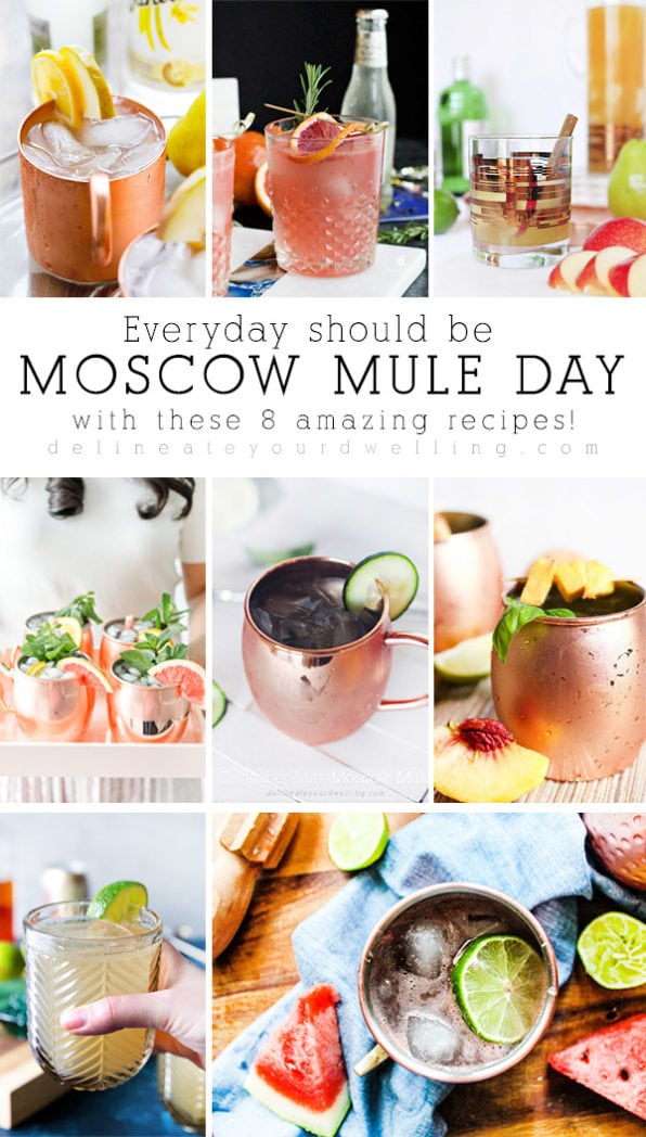 The most creative and delicious Moscow Mule recipes from the classic recipe to great additions of blood orange, watermelon and pear! All of these are must try cocktail recipes. #delineateyourdwelling #moscowmule #moscowmulerecipe #mulecocktail #moscowmulecocktail